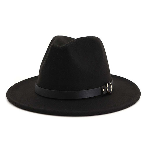 Black Hat With Gold Circle Leather Belt