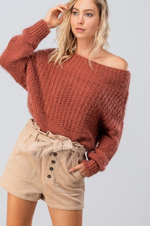Rust Fuzzy Off Shoulder Sweater