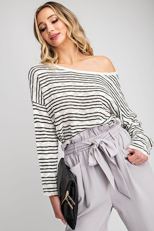 White & Black Striped Sweater With Open Back