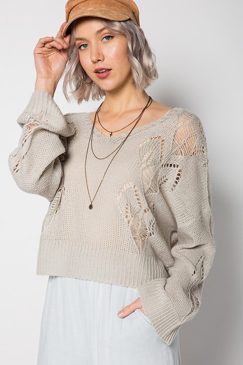 Grey Open Knit Pullover Sweater