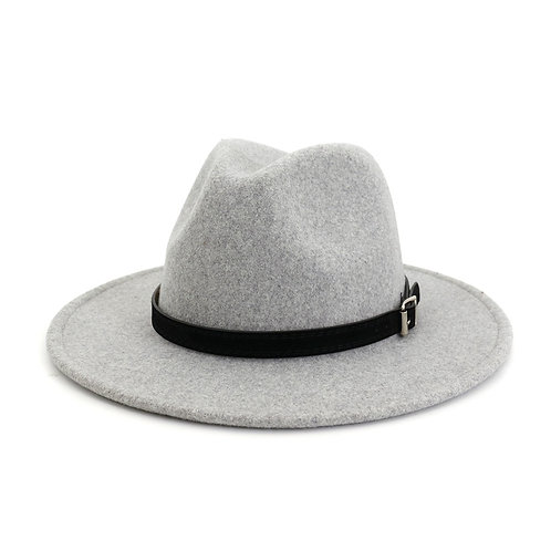 Trendy Speckled Fedora Hat With Square Buckle Belt