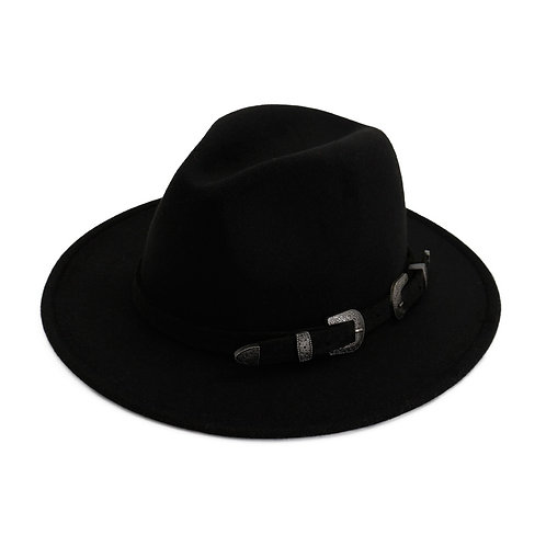 Black Hat With Western Style Buckle Belt