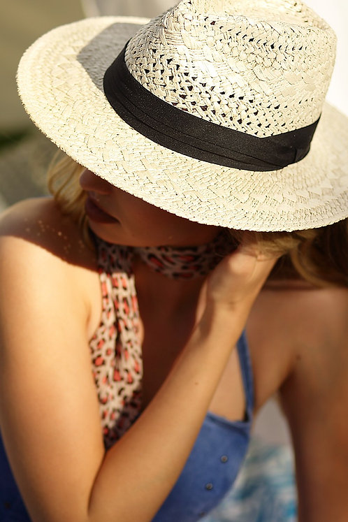 Natural Straw Panama Hat With Black Ribbon