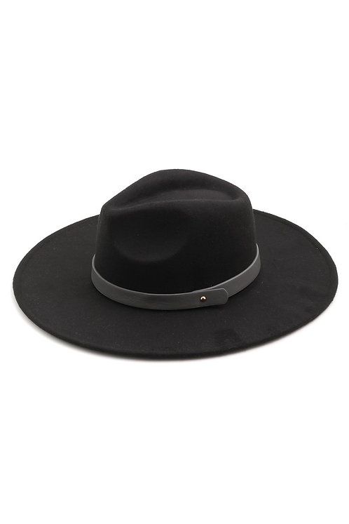 Black Wide Brimmed Hat With Grey Band