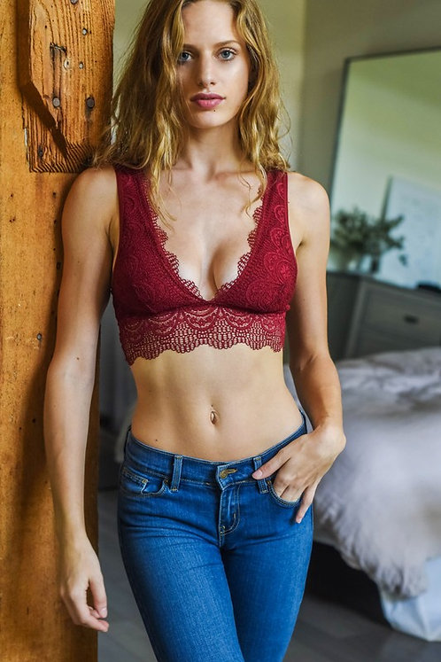 Burgundy Plunging Lace Bralette