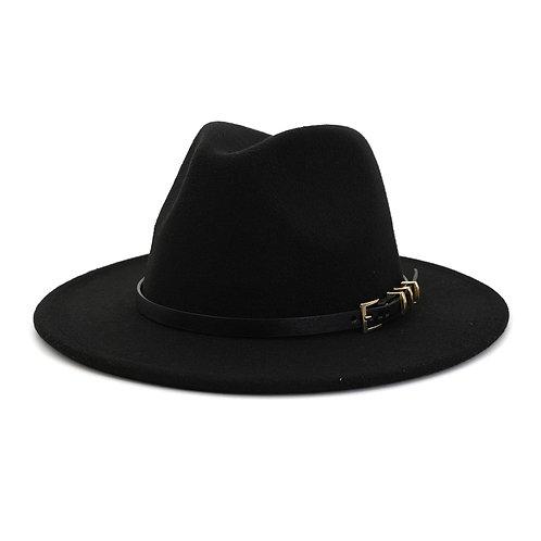 Black Hat With 3 Loop Buckle Belt