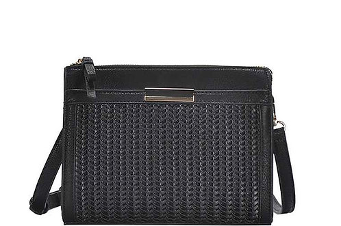 Black Woven Front Crossbody Bag