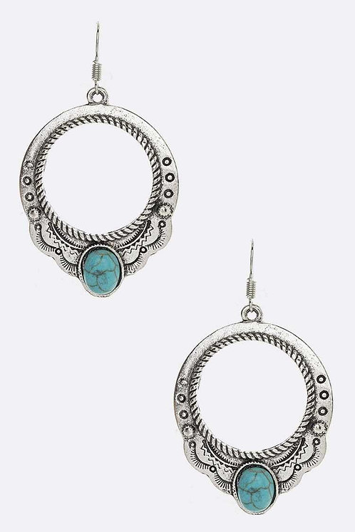 Silver Turquoise Engraved Earrings