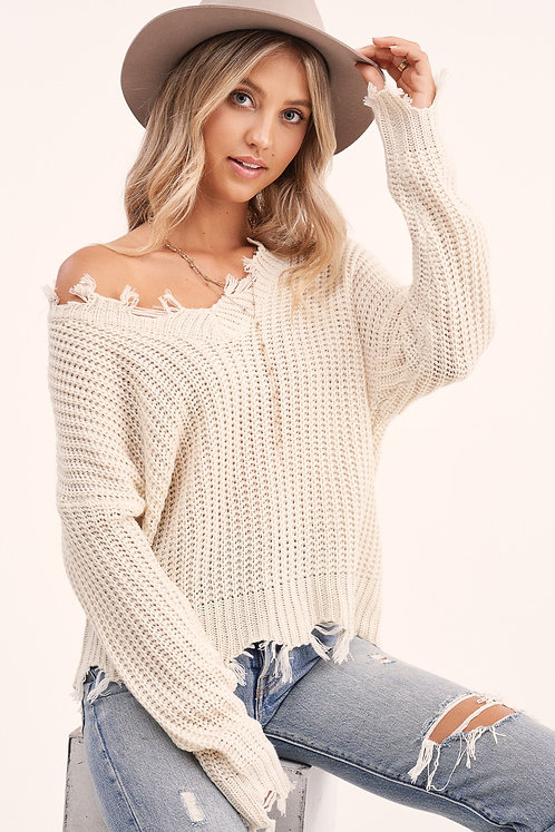 Natural Distressed Hem Sweater