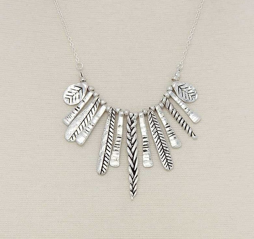 Silver Tribal Feather Etched Bars Necklace