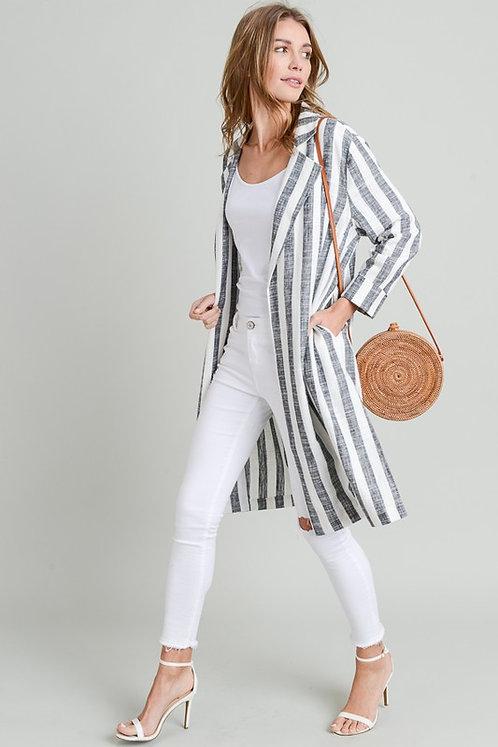 Vertical Striped Long Line Blazer