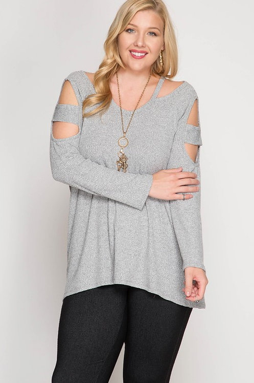 Grey Sweater With Sleeve Cutouts