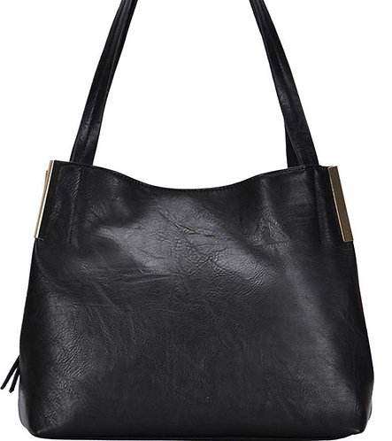 Black Trendy Satchel Bag