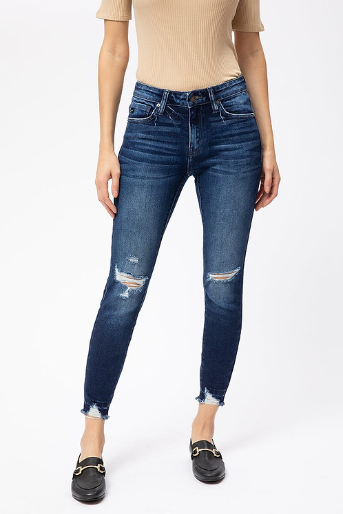 Blue Mid Rise Skinny Jeans With Distressing