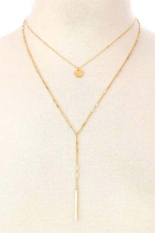 Layered Coin & Drop Bar Necklace