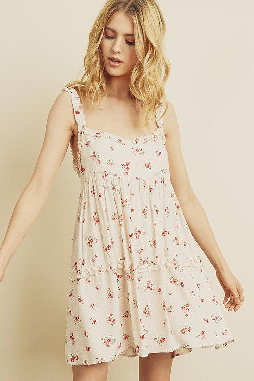 Cream & Red Floral Print Babydoll Dress