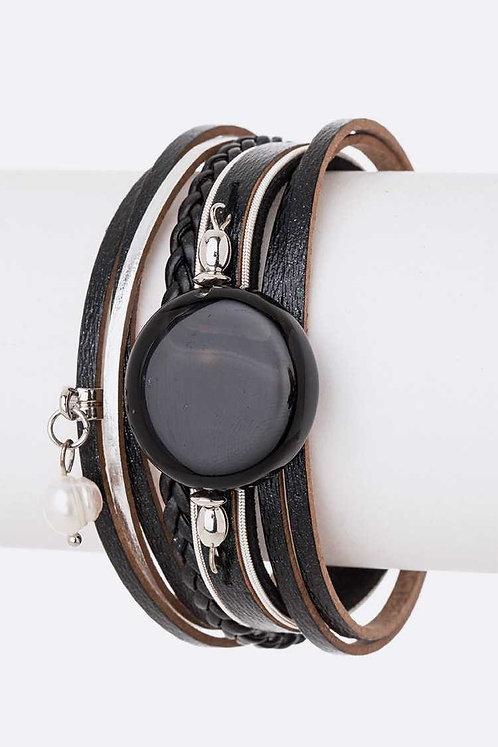 Black Stone Leather Magnetic Bracelet