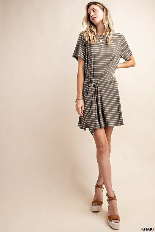 Olive Striped Tied Dress