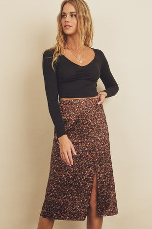 Burgundy & Navy Floral Midi Skirt