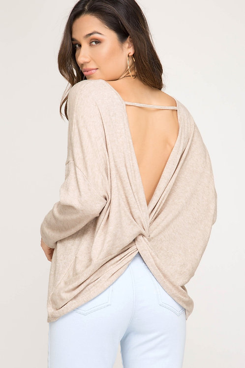 Sand Sweater With Open Twist Back