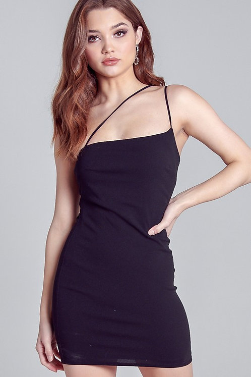 Black Bodycon Dress With Asymmetrical straps