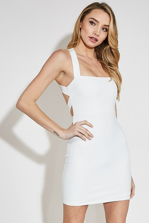 White Fitted Dress With Open Back