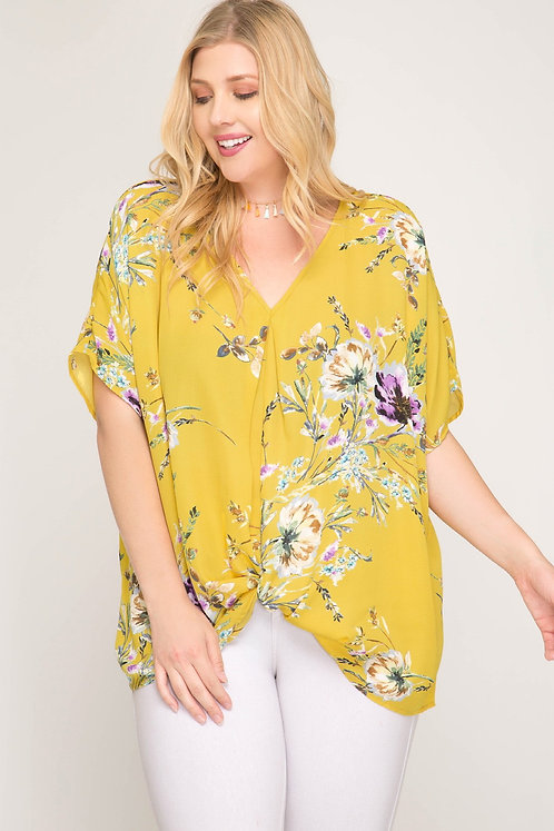 Mustard Floral Knot Front Top