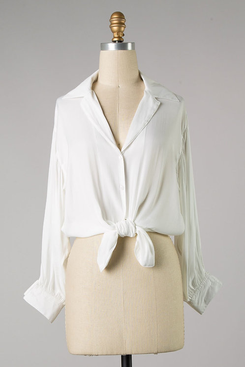 White Collared Button Up Blouse W/Tie Front