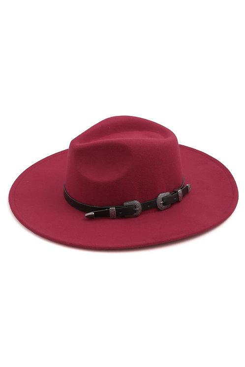 Burgundy Hat With Western Buckle