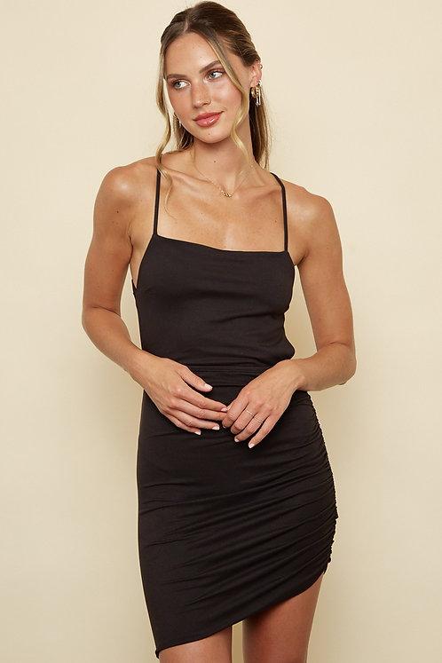 Black Side Shirring Criss-Cross Tie Back Bodycon Dress