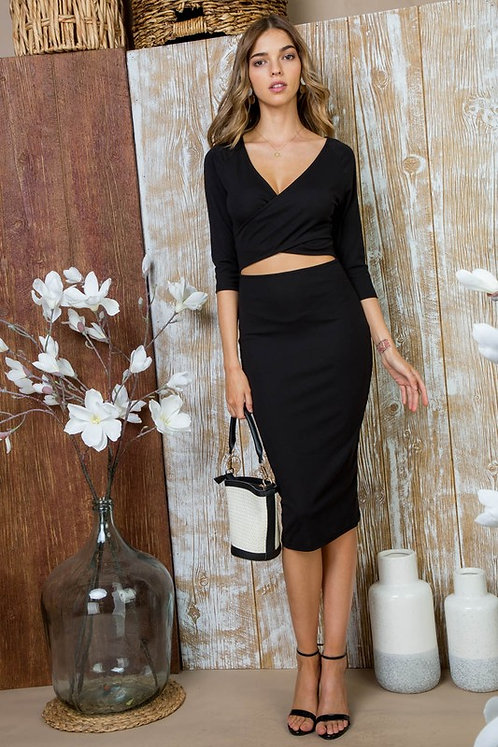 Black Wrap Front Dress With Cutout