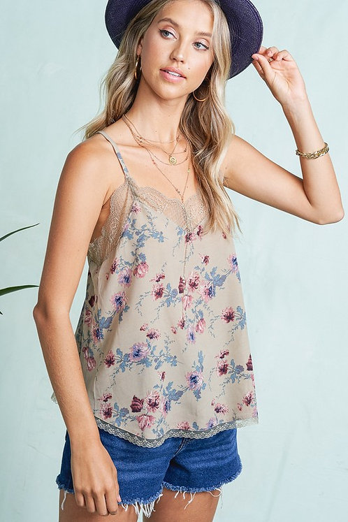 Taupe Floral Cami With Lace Trims