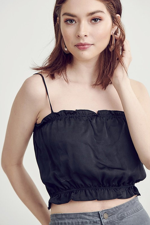 Black Silky Cropped Cami