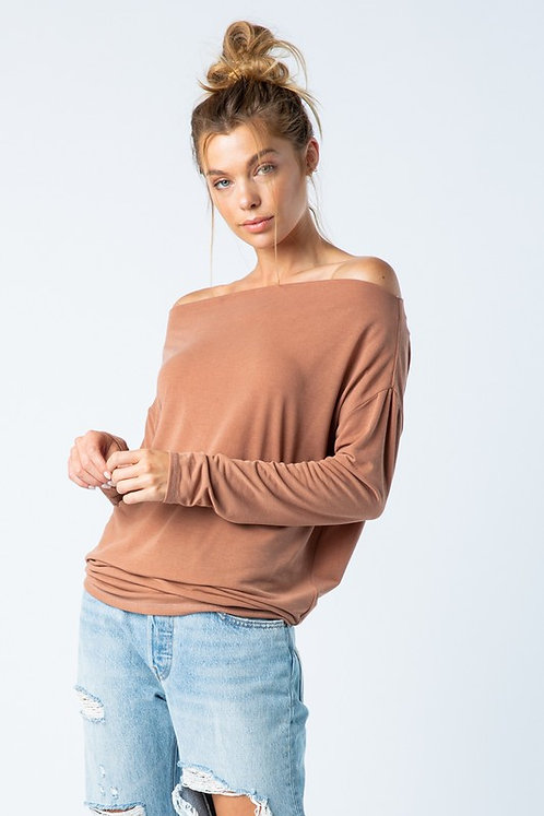 Brick Off Shoulder Lightweight Sweater
