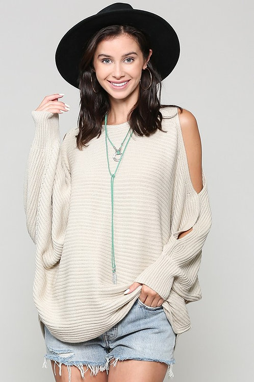 Cold Shoulder Sweater With Dolman Sleeves