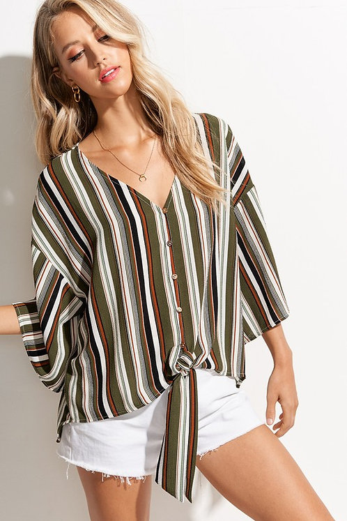 Army Green Striped Tie Front Top