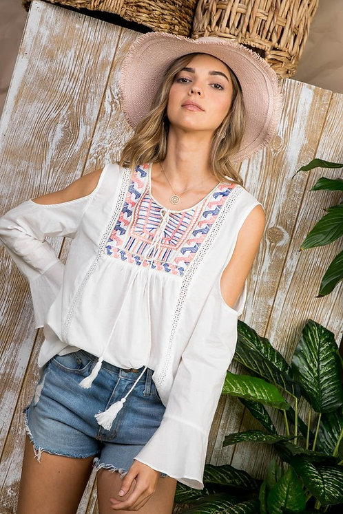 White Embroidered Cold Shoulder Top