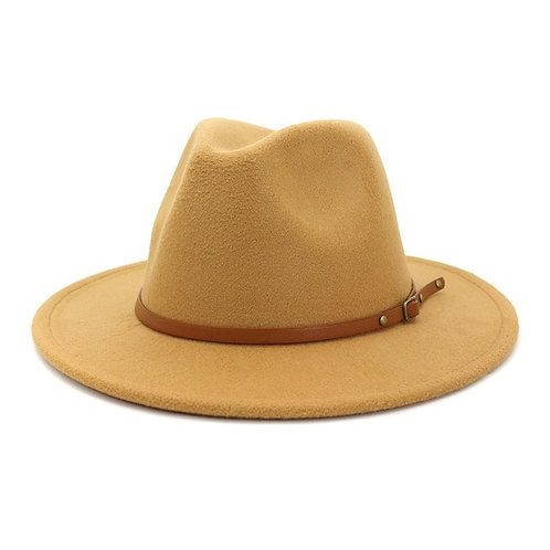 Casual Fedora Hat With Brown Belt