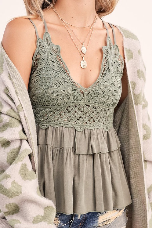 Olive Lace Bralette Tank Top