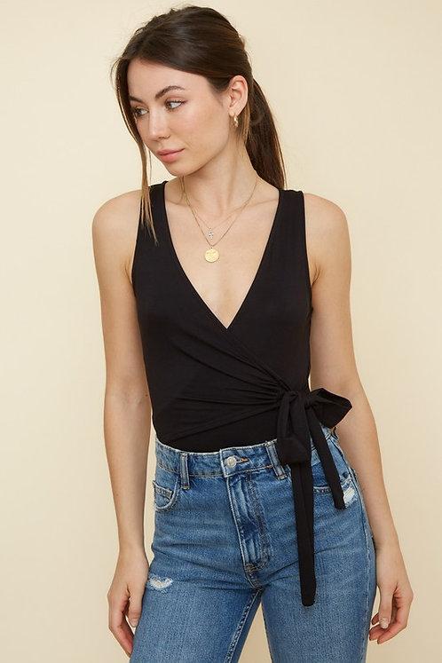 Black Sleeveless Wrap Front Bodysuit