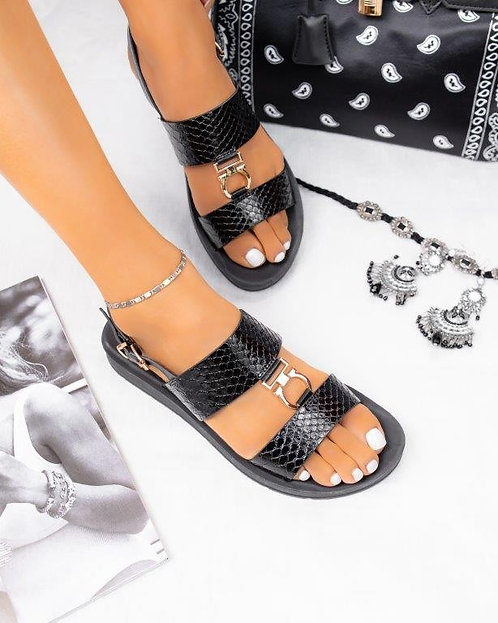 Black Faux Alligator Skin Sandals With Gold Buckles