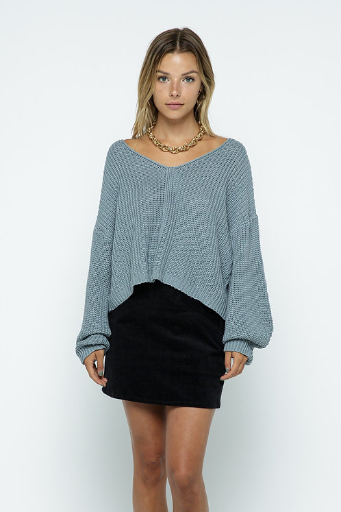 Canal Blue Crop Sweater With Open Back
