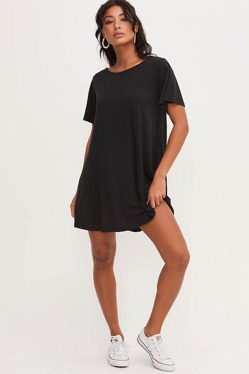 Black T-Shirt Dress With Open Criss-Cross back