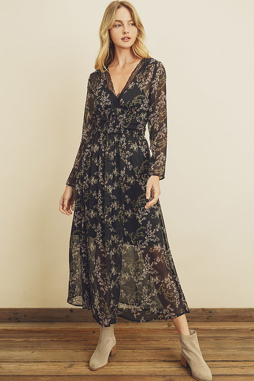 Black Floral Print Semi-Sheer Maxi Dress
