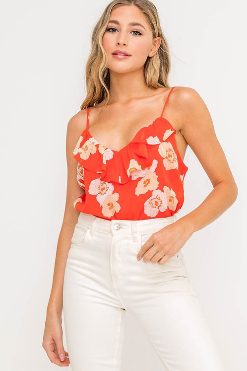 Red Orange Floral Ruffled Bodysuit
