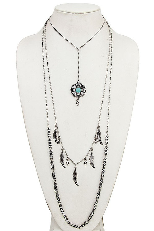 Silver 3 Layered Turquoise, Feather, & Tribal Chain Necklace