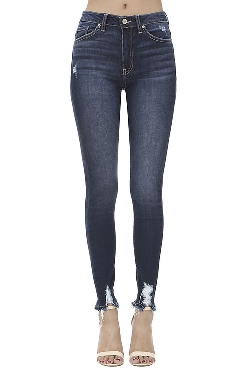 Dark Wash High Distressed Hem Jeans