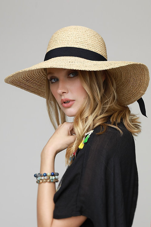 Natural Floppy Sun Hat With Wide Black Bow