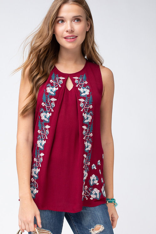 Burgundy Embroidered Sleeveless Blouse