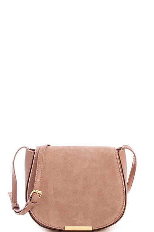 Mauve Suede Flap Crossbody Purse